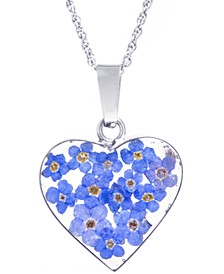 "Medium Heart Dried Flower Pendant with 18"" Chain crafted in Sterling Silver. Available in Multi or Blue"