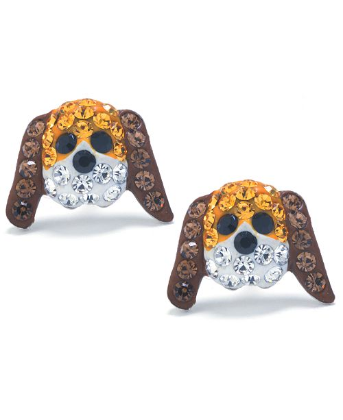 Athra Brown and White Pave Crystal Dog Face Stud Earrings set in Sterling Silver
