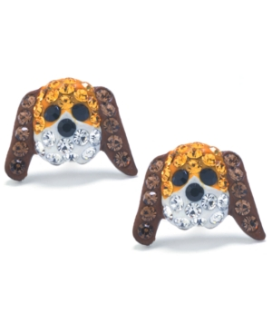 Brown and White Pave Crystal Dog Face Stud Earrings set in Sterling Silver