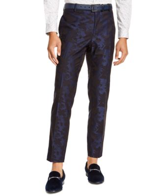 INC Men's Slim-Fit Stretch Floral Jacquard Pants, Created For Macy's