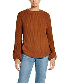 Balloon-Sleeve Ruched Sweater