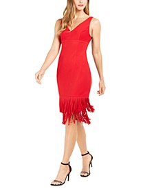 Fringe-Trim Sheath Dress