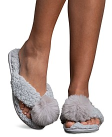 Women's Faux-Berber Flip-Flop Slippers