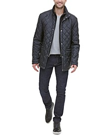 Men's Diamond Quilted Jacket with Knit Bib