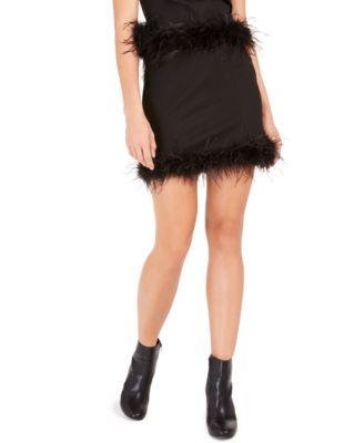 Feather-Trim Mini Skirt
