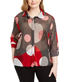 Plus Size Printed Button-Front Top, Created For Macy's