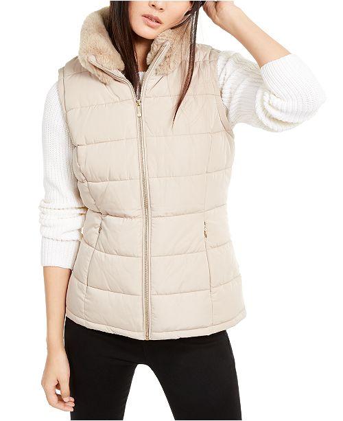 Calvin Klein Faux-Fur Collar Vest