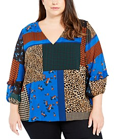 Plus Size Printed Ruffled 3/4-Sleeve Top