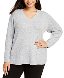 Plus Size Chevron-Stitch V-Neck Sweater