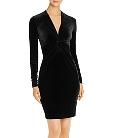 Cynthia Knot-Front Velvet Dress