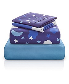 Starry Night Sky Double-Brushed Microfiber 4 Piece full Sheet Set