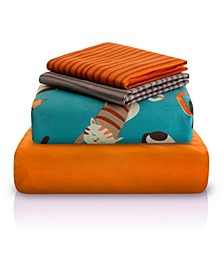 Cat Print Double-Brushed Microfiber 4 Piece Sheet Set Collection