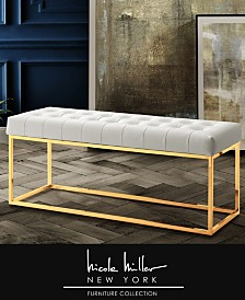Nicole Miller Dwayne Tufted Bench with Metal Base