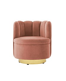 Ragland Velvet Tufted Accent Chair with Swivel Metal Base