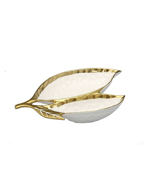 Classic Touch Porcelain Leaf Relish Dish with Rim
