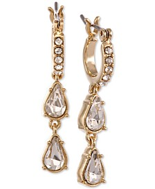 Gold-Tone Crystal Mini-Hoop with Double Drop Earrings