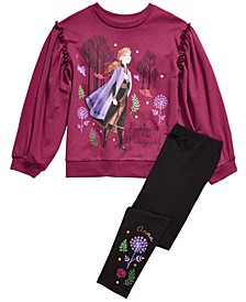 Disney® Little Girls Frozen 2-Pc. Anna Nature Is Magical Top & Leggings Set