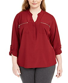 Plus Size Zip-Pocket Utility Shirt