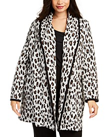 Plus Size Tipped Patterned Cardigan Sweater