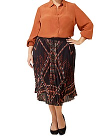 Plus Size Pleated Midi Skirt