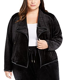 Plus Size Contrast-Trim Flyaway Jacket