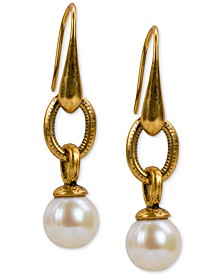 Gold-Tone Imitation Pearl Drop Earrings