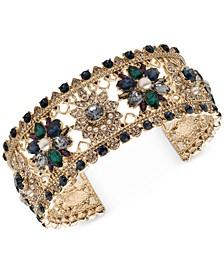 Gold-Tone Crystal, Stone & Imitation Pearl Openwork Cuff Bracelet