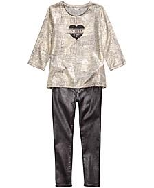 Big Girls Gold Knit Top & Metallic Skinny Jeans
