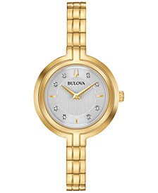 Women's Rhapsody Diamond Accent Gold-Tone Stainless Steel Bracelet Watch 30mm