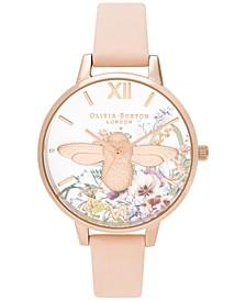 Women's Enchanted Garden Peach Leather Strap Watch 34mm