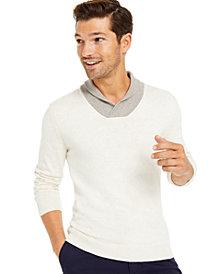 Tasso Elba Men's Contrast Shawl-Collar Supima Cotton Sweater, Created for Macy's