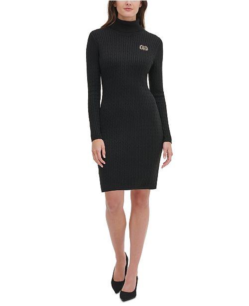 Tommy Hilfiger Turtleneck Crest Cable-Knit Sweater Dress