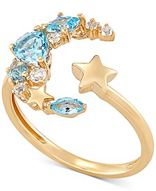Blue Topaz (7/8 ct. t.w.) & White Topaz (1/8 ct. t.w.) Moon & Star Cuff Ring in 14k Gold