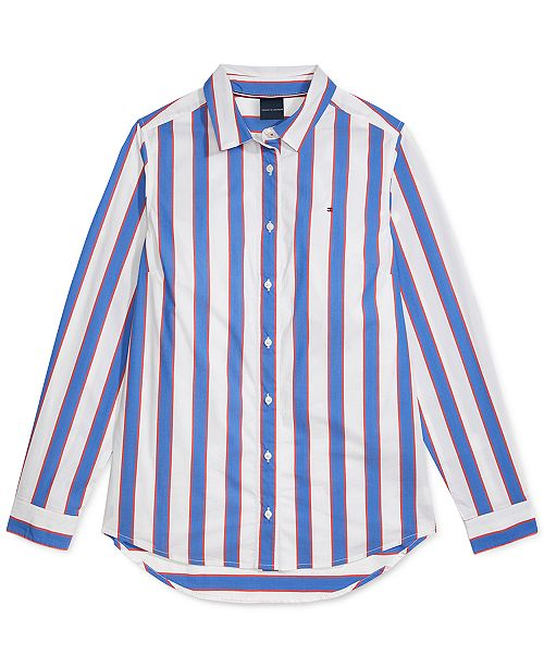 Tommy Hilfiger Women's Crusher Stripe Play Shirt with Magnetic Closures