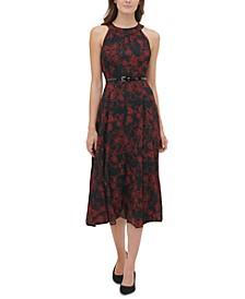 Belted Floral-Print Chiffon Midi Dress