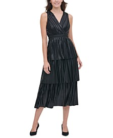 Tommy Hilifger Metallic-Pleated Tiered Dress