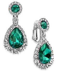 Pavé & Stone Clip-On Drop Earrings, Created For Macy's