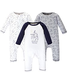 Baby Boy and Girl Organic Cotton Coveralls, 3 Pack