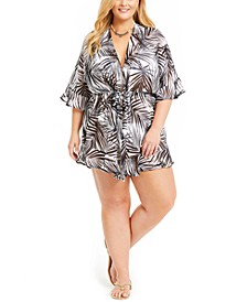 Plus Size Paradise Palms Flutter Sleeve Tunic Cover-Up