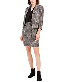 Tweed Open-Front Jacket, Inverted-Pleat Top & Tweed Skirt, Created for Macy's