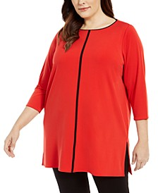 Plus Size Contrast-Stripe Tunic, Created For Macy's
