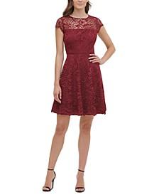 Floral-Lace Fit & Flare Dress