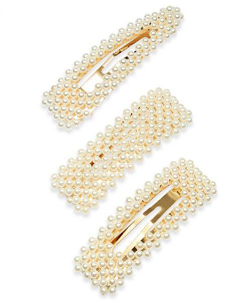 INC International Concepts INC 3-Pc. Gold-Tone Imitation Pearl Hair Barrette Set, Created For Macy's