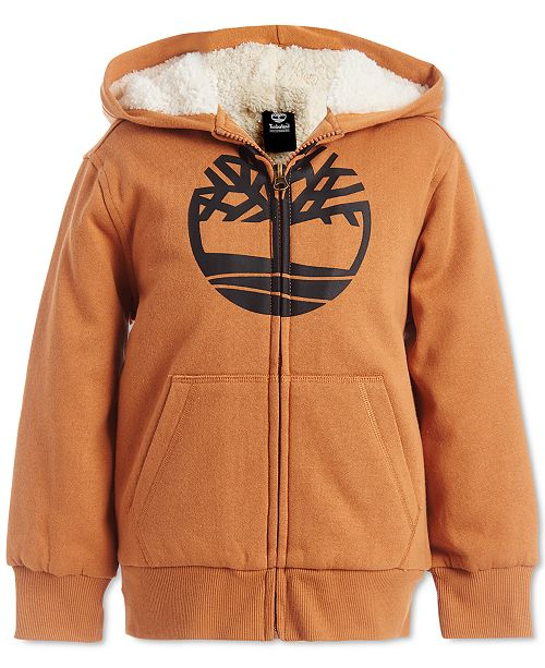 Timberland Little Boys Tree Wheat Fleece-Lined Logo Hoodie