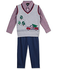 Baby Boys 3-Pc. Holiday Sweater Vest, Check Shirt & Pants Set