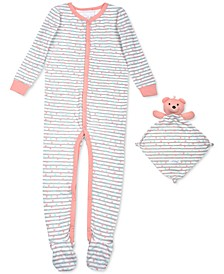 Baby Girls 2-Pc. Striped Heart Footie Pajama & Bear Blankie Buddy Set, Created For Macy's