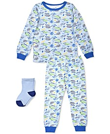 Toddler Boys 3-Pc. Dinosaur Pajamas & Socks Set, Created For Macy's