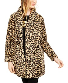 Leopard-Print Fleece Flyaway Jacket