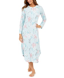 Brushed Waffle Knit Printed Long Nightgown