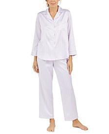 Women's Brushed Back Printed Satin Pajama Set